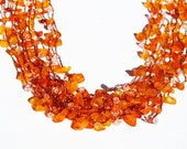 Orange Necklace   - Crochet Necklace - Multistrand Necklace - Multistrands Crochet Necklace with Carnelian Chips & Swarovski - OOAK