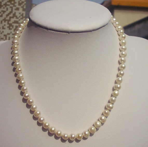 Ivory Pearl Necklaces,Freshwater pearl 6-7mm ivory Pearl Necklace,wedding necklace,pearl jewelry - Free Shipping