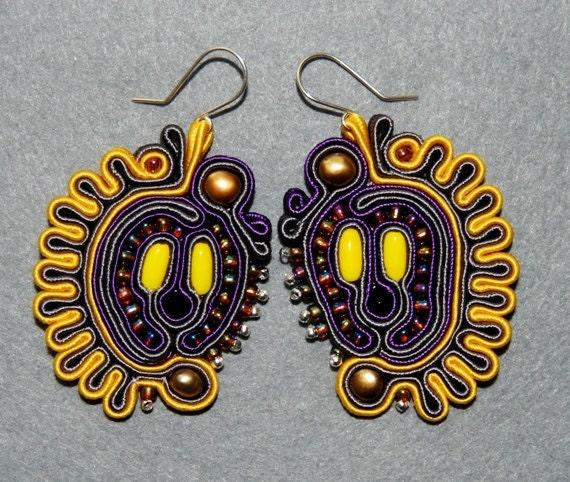 SALE - Multicolor, soutache earrings