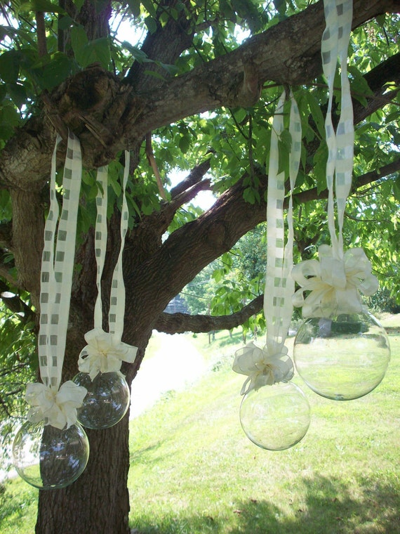 Special order for Beth...16 Glass Bubbles with Ribbon and Bows