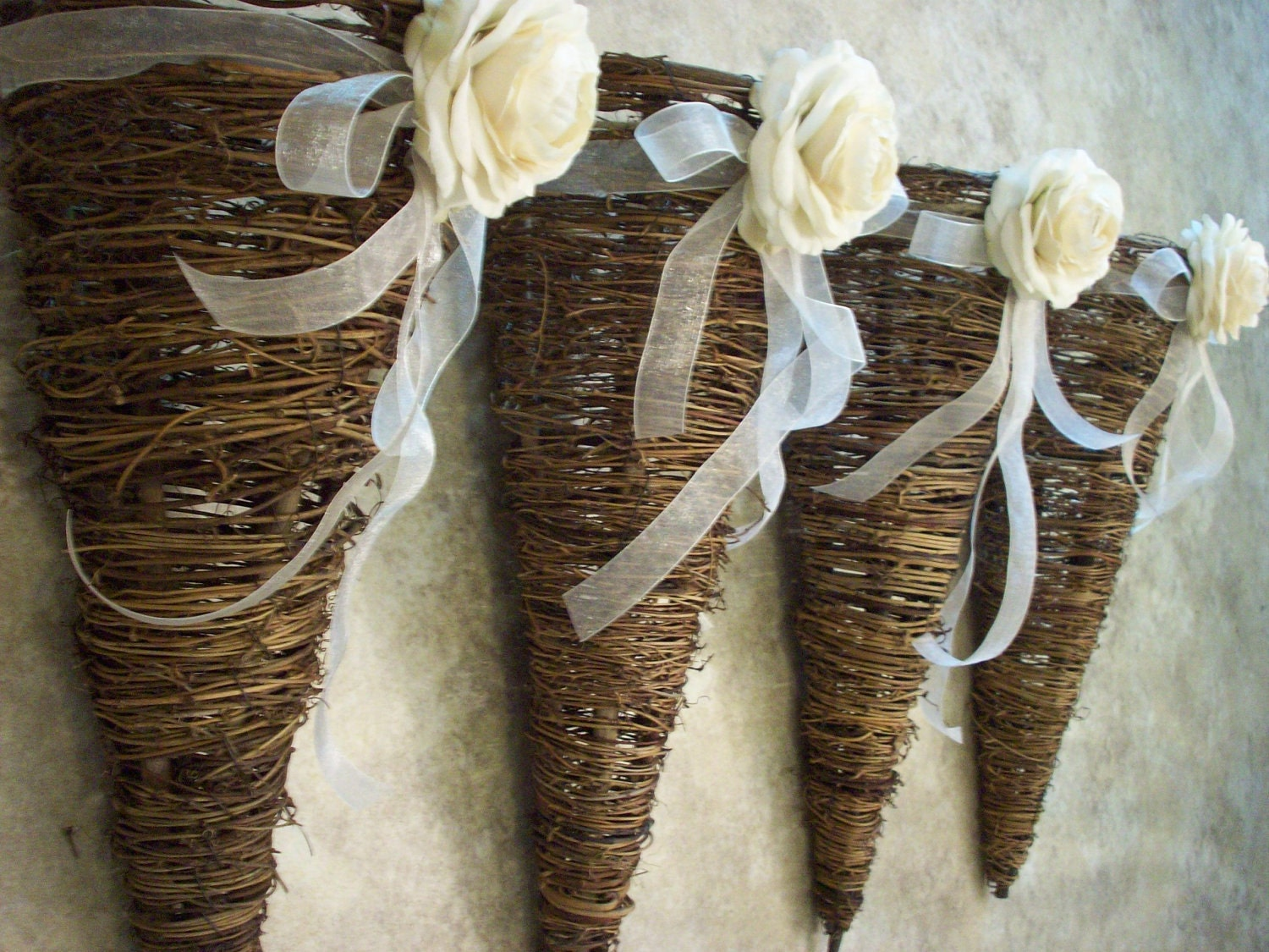 Rustic Grapevine Cone Basket Pew Decorations with Sheer Ribbon