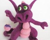 Needle Felted Toy - Little Purple Dragon. rusteam