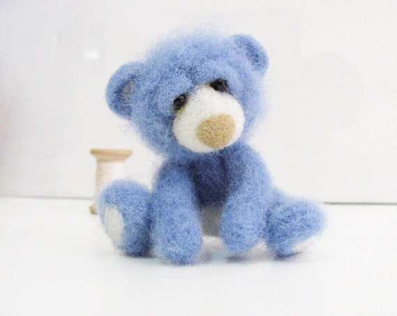 Needle Felted Toy. Mini Teddy Bear. Blue and White. Holidays gift. Christmas. Gift under 40