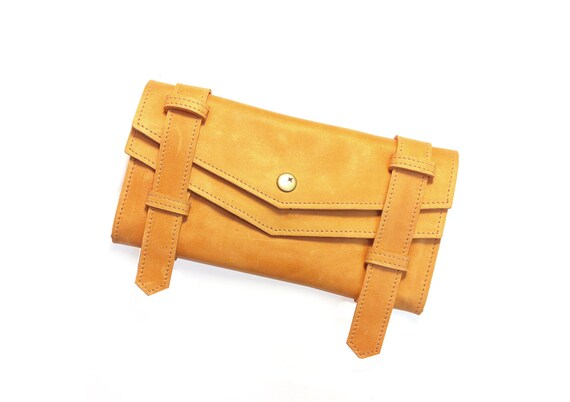 Leather  Wallet- Clementine Tangerine