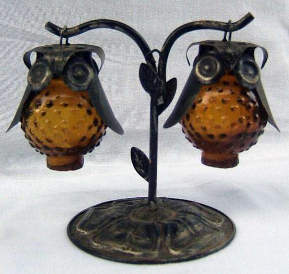 Vintage owl salt and pepper shaker set by vintageheirlooms4u