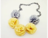 SALE 25% OFF, Ruffle Flower Necklace in Yellow and Grey, Pom Pom Necklace