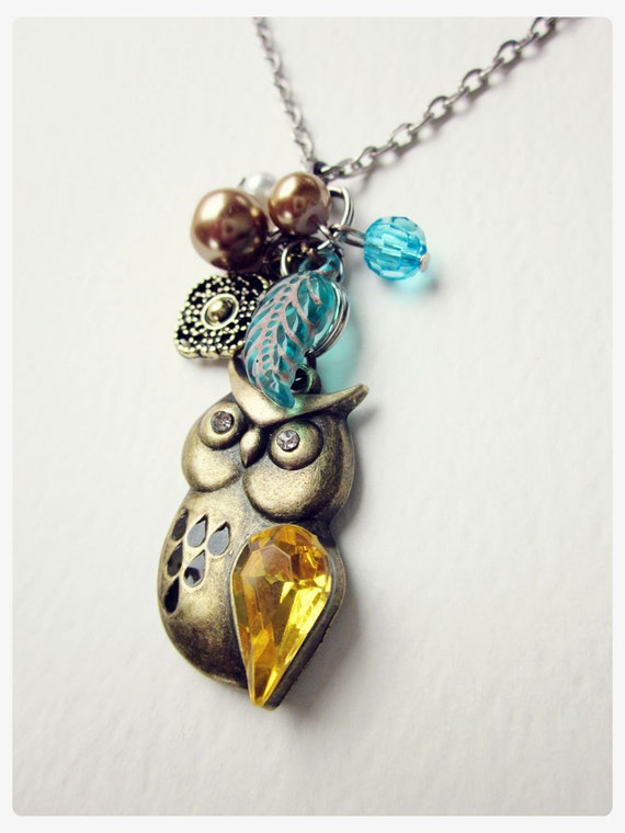 Owl Charm Necklace, Bronze, Silver, Teal