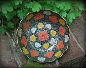 Vintage Brass & Enamel Bowl from India