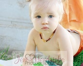 Eco Waldorf Two Tone Baltic Amber Teething Necklace - Baby Kid Jewelry - Made in Texas