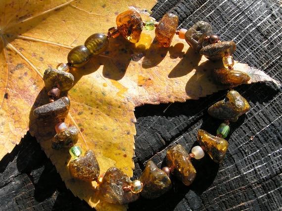 Earthy Boho Baltic Amber Adult Bracelet - Rare Dark Greenish Amber - Arthritis/Migraines/Headaches/Anti-Inflammatory/Pain Relief