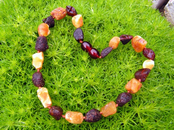 RAW Butterscotch and Cherry - Baltic amber teething necklace - Natural organic amber stones