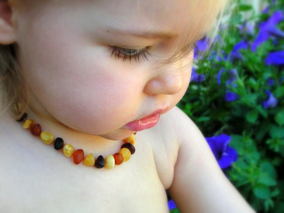 MULTI-COLORED RAW Round Beads - Baltic amber teething necklace - Natural organic amber stones