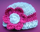 Pink and White Baby Girl Beanie
