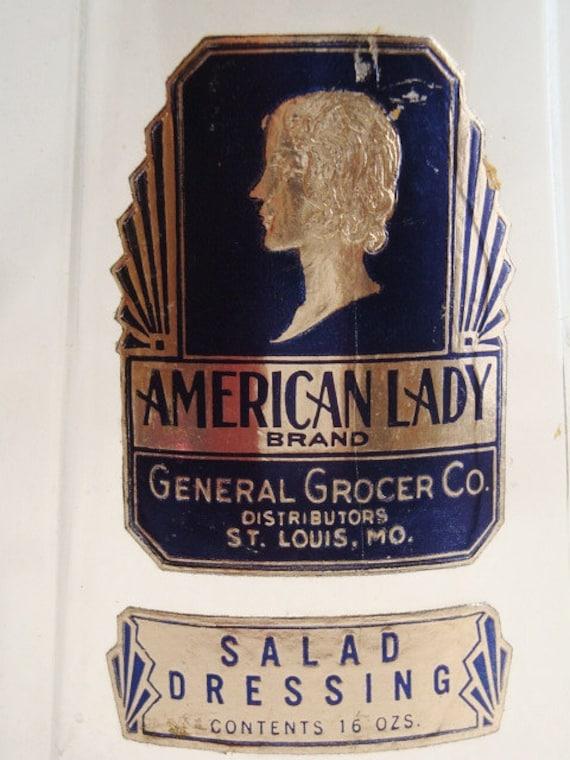 Art Deco American Lady salad dressing jar, circa 1930s