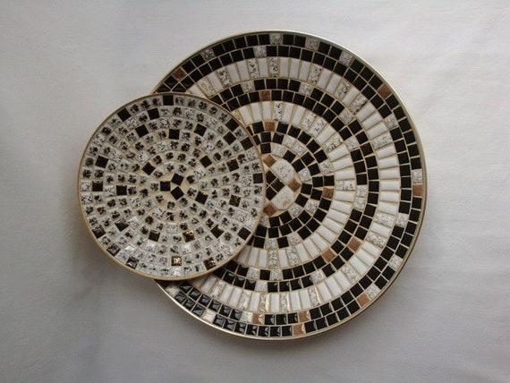Mid Century Black and White Mosaic Trays