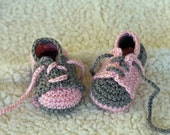 Crochet Baby Booties - Sport Saddle Shoes - Two different shoes - Pink with Grey Saddles or Grey with Pink Saddles