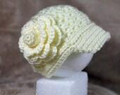 Crochet Baby Hat - Baby Girl Hat -  Crochet Newsboy Hat - Summer Hat