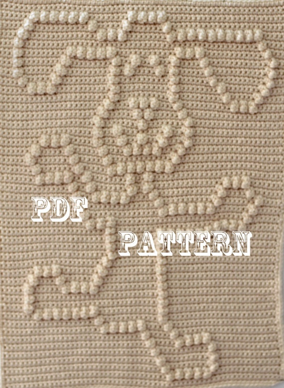 Knitting Pattern With Dog Motif : Crochet Pattern Crochet Baby Blanket Dancing Dog Baby
