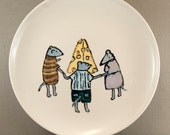 Kids Art - Mice Dancing Around Piece of Cheese - Home Decor