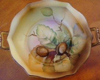 Hand Painted Nippon Bowl with Raised Walnut Reliefs & Handles