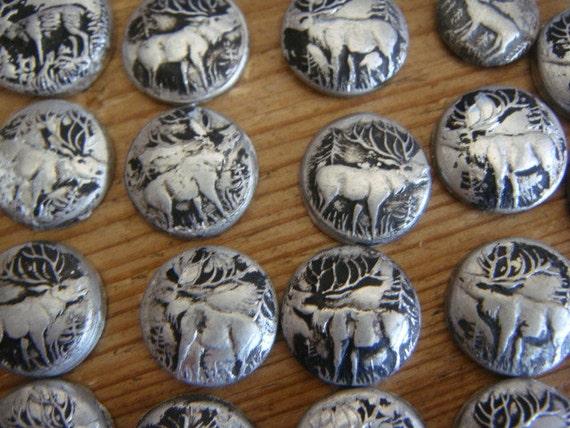 37 Metal Pieces Stamped with a Stag Deer Elk