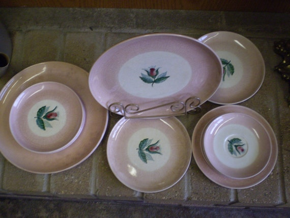 Edith Varian Cockcroft Plates Rose Bud with wide Pink Rim 12 pc. assortment