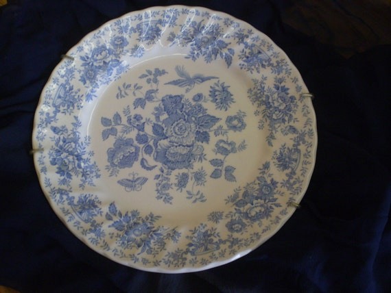 Myott Meakin Fine China Plate Blue Flowers Bird And Butterfly