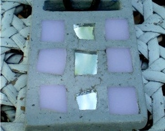 OOAK Gray concrete necklace . Pale pink and mirror glass tile . Adjustable leather cord . Reversible Pendant.