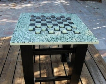 Terrazzo Concrete checker table Polished Concrete Re- Cycled Materials Interior/Exterior Games Table Modern Concrete