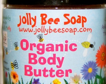 Bee Natural Organic Body Butter. Made with fair trade, shea butter.  Pure and creamy. Unscented.
