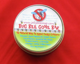 "Natural Insect Repellent ""Bug Bee Gone"" Bar with Citronella, Beeswax and Organic Shea Butter lotion bar."