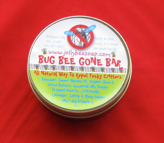 "Insect Repellent ""Bug Bee Gone"" Bars with Citronella, Beeswax and Organic Shea Butter lotion bar."