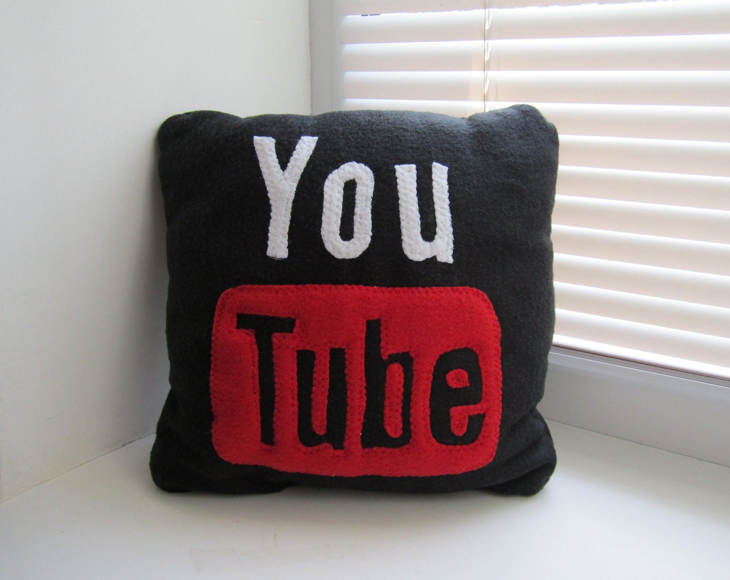 12 x 12 Black Youtube Pillow Handmade Geekery by giftpillows
