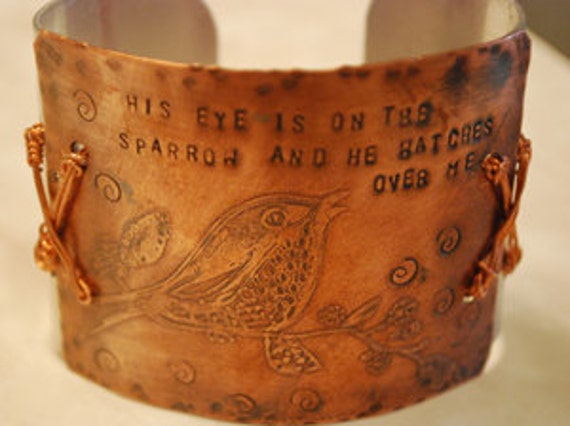 Sparrow etched cuff
