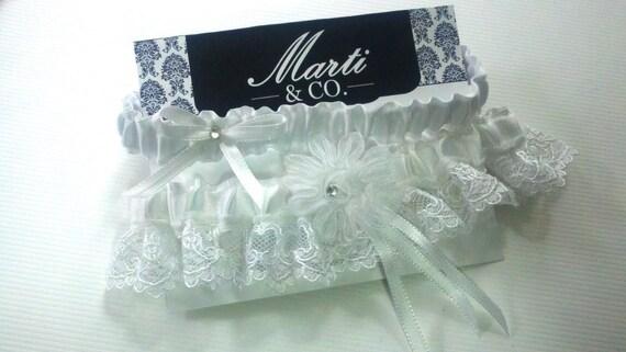 Wedding Garter Set - White Lace and Rhinestone - Bridal Garter Set - Wedding Accessory Garter Set