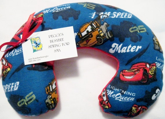 Travel Pillow - Head Neck Support - Child Size - Disney Cars Flannel Red Fleece - CARS2 Lightning McQueen Tow Mater - Boys