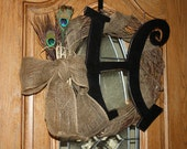 Peacock Feather Burlap Wreath with Wooden Initial