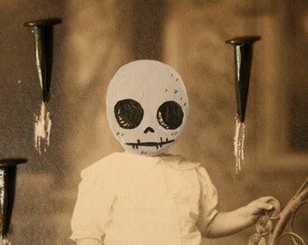 Little Skeleton Girl Nail Skull Dia de los Muertos Vintage Photograph
