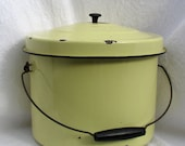 """Vintage bucket pail //20 % discount enter """"BOXING2DAYSALE"""" on checkout // enamel yellow with lid and handle."""