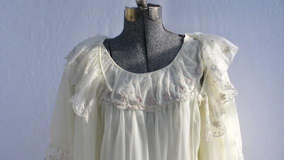 Vintage cream chiffon peignoir set sexy 1960s cream nightgown and robe chiffon layers size medium valentines day gift