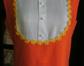 1960's Orange & White Yellow Daisy Trimmed Bibbed Dress