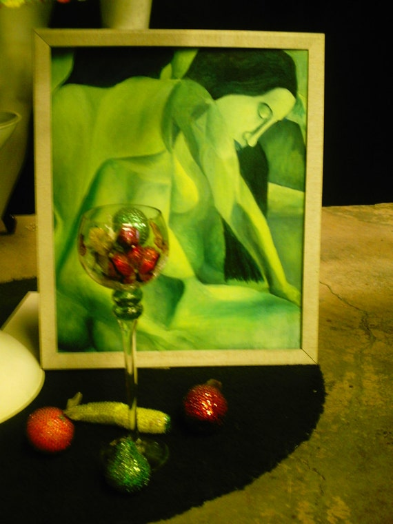 Forbidden Fruit 1960's 70's apple green oil painting of nude woman within a nude