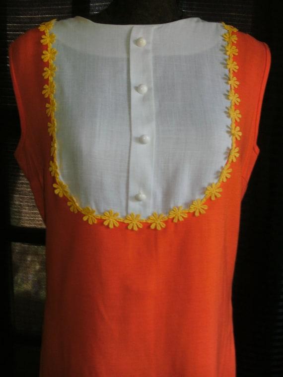 1960's Orange & White Yellow Daisy Trimmed Bibbed Dress