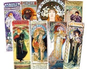 Art Nouveau Poster Ads (Sarah Bernhardt) by Alphonse Mucha - 8.5 x 11 Digital Collage Sheet for Jewelry and Crafts. v3 No. 78