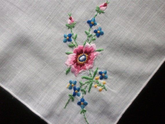 Embroidered Multicolored Floral on White Handkerchief Hanky from All Vintage Hankies