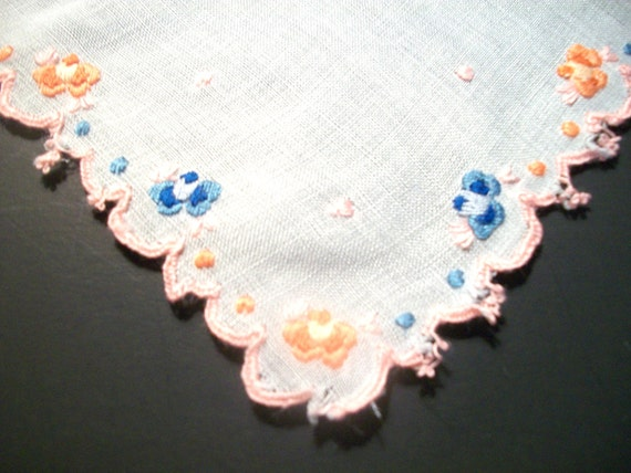"""Vintage 11.5"""" Blue, Orange and Pink Embroidered Flowers Floral on White Scalloped Edged Linen Hankie, Handkerchief, Hankies, Hanky"""