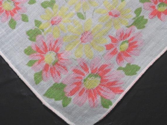 Vintage Linen Hankie, Handkerchief, Hankies, Hanky Yellow and Pink Retro Spring Flowers