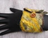 Goldenrod Felt Cuff with Vintage Button