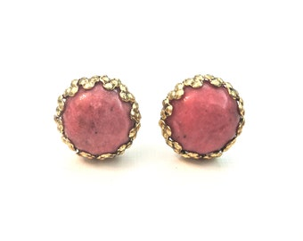 Coral Stone Stud Earrings with Bronze Trim