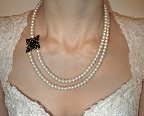 Asymmetrical Pearl Necklace with Bronze Accent - Double Strand - Feeling Fancy
